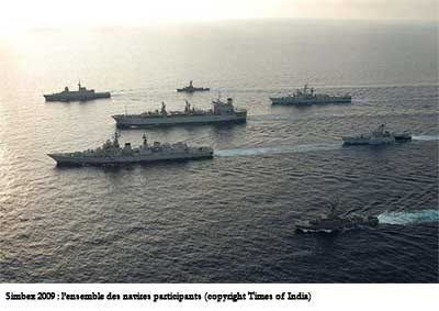 Simbex 2009 : l'ensemble des navires participants (copyright Times of India)