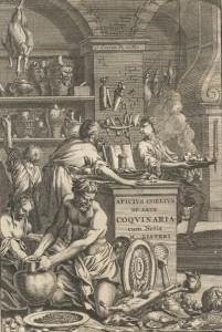 Apicius, De opsoniis et condimentis (Amsterdam: J. Waesbergios), 1709. Frontispiece of the second edition of Martin Lister's privately printed version of Apicius. Source: Wikipedia.