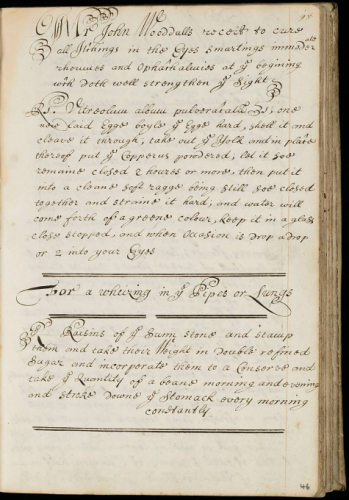 A recipe from Woodall. (See the paper for similar examples). Lady Ayscough collection, Wellcome MS 1026, fol. 46r. Source: Wellcome Library.