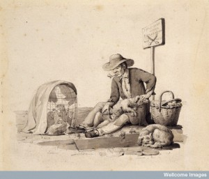 A barber-surgeon for dogs in Paris. Drawing by L. Choquet.19th century. Credit: Wellcome Library, London.