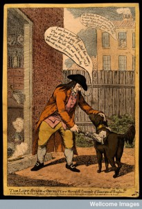 John Glaisyer a Quaker anointing a dog with burning vitriol. By Charles Williams, 1806. Credit: Wellcome Library, London.