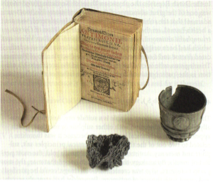 Antimony ore, antimony cup and Basilius Valentinus, Triump-Wagen Antimonii, Leipzig 1604. From: C. van Heertum, Alchemy on the Amstel. On Hermetic Medicine. Amsterdam: In de Pelikaan, 2012.