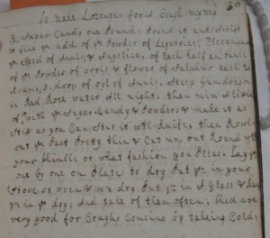 'To make Lozenges for a Cough my way' Wellcome, WMS 3029, f. 30.