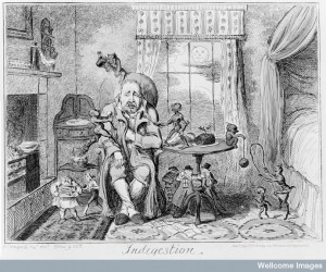 'Indigestion', by George Cruikshank, ca. 1835. Credit: Wellcome Library, London.