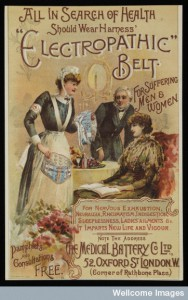 Magazine insert or leaflet advertising the therapeutic belts available at the Medical Battery Company Limited at 52 Oxford Street, London. They were supposed to invigorate the debilitated and cure: rheumatism, constipation, palpitation, neuralgia, nervousness, back pain, sciatica, lumbago, obesity, ladies' ailments (menstruation disorders) and impaired vitality (male impotence). The illustration shows a nurse presenting 2 belts to a man and woman sitting by a table with fruit and a bottle on it (1893). Credit: Wellcome Library, London.