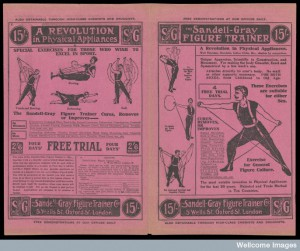 """The Sandell-Gray Figure Trainer, a  """"unique apparatus ... for making the body graceful, erect and symmetrical by a few week's use. Attaches directly to the user's body"""". It also cured indigestion, constipation, stomach troubles, corpulence and spinal curvature (1900). Credit: Wellcome Library, London."""