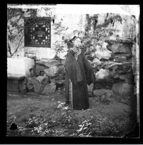 Image:   A Manchu woman in a rocky garden, taken by John Thomson in 1869. Image 19678i from the Iconographic Collection, Wellcome Library, London.