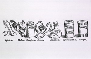 Herbal medicines in a variety of containers] Tacuini sanitatis Elluchasem Elimithar medici de Baldath, de sex rebus non naturalibus, Joannem Schottum, 1531 p. 111. Courtesy of the National Library of Medicine.