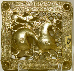 Gold Scythian belt buckle with horse. Seventh century BCE. Source: Wikipedia