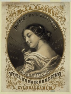 """Mrs. S.A. Allen's World's Hair Dressing or Zylobalsamum,"" 29 May 1860. Source credit: brary of Congress Prints and Photographs Division."