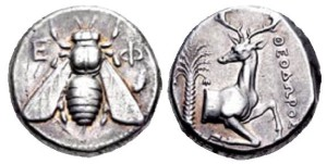 A coin from ancient Ephesus, representing a bee. Source: wildwinds.com