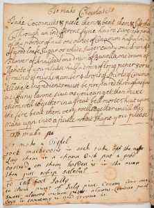 MS251 - receipt book_Mary Goodson, 1687, chocolate recipe