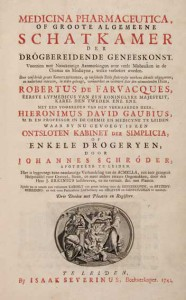 Front page of the 1741 Leiden edition of the Medicina Pharmaceutica