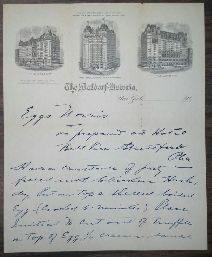 Recipe for the Waldorf Hotel