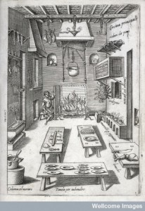 L0023705 Credit: Wellcome Library, London. A kitchen. From: Bartolomeo Scappi. Opera di M. Bartolomeo Scappi. Tramezzino, Venice 1570, Table 2. © Wellcome Images