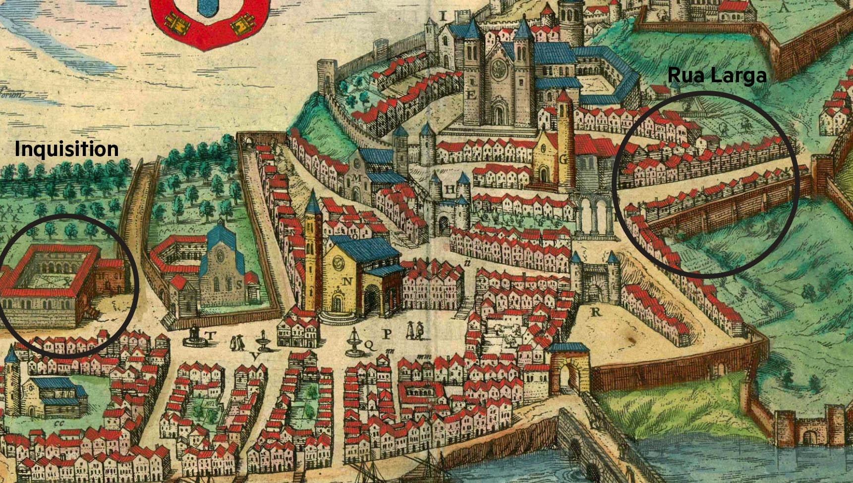 """Credit: Georg Braun, Civitates Orbis Terrarum, (Cologne, 1598), """"Illustris Civitati Conimbriae In Lusitania."""""""