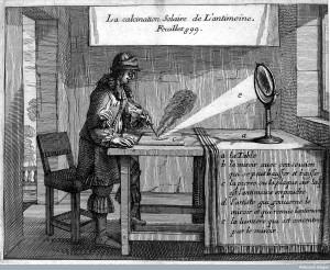 Credit: Wellcome Library, London La calcination Solaire de L'antimoine. From Nicholas Le Fevre, Traicte de la Chymie (Paris, 1660), opp. p. 899.  Wellcome Library, London