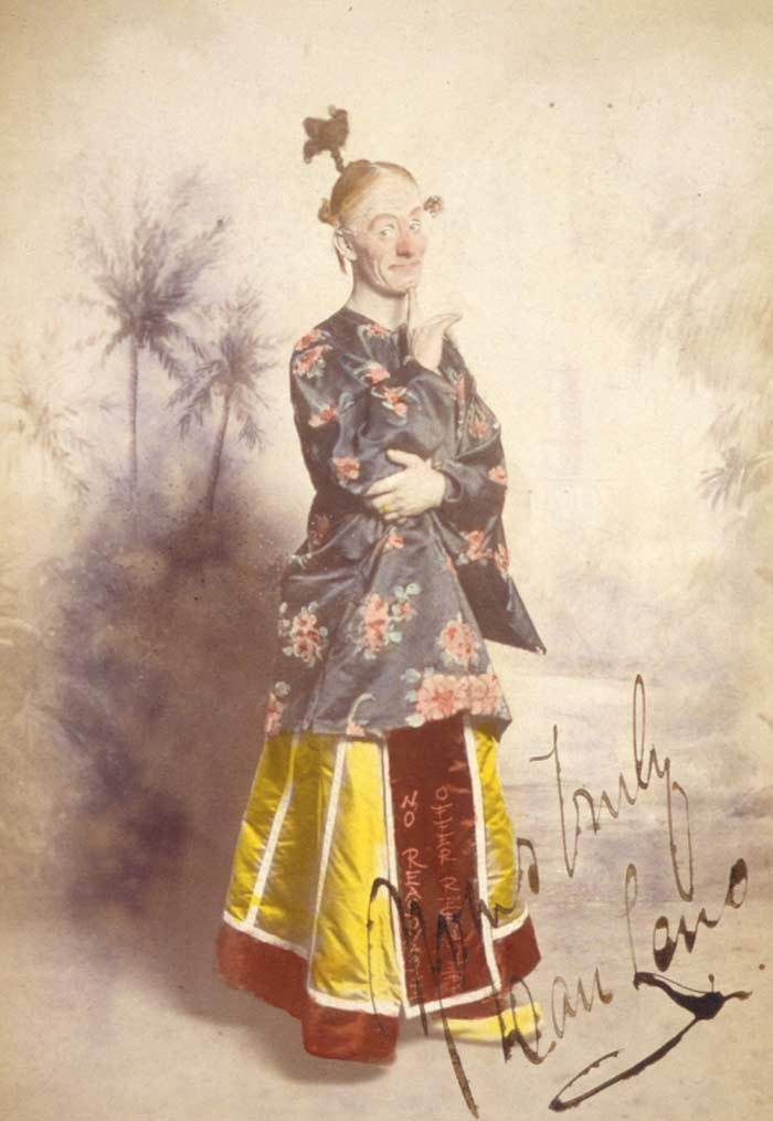 "Dan Leno as ""Widow Twankey,"" in an 1896 Drury Lane production of Aladdin. Wikimedia Commons."