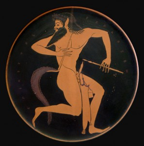 Satyr on a red-figure cup, sixth-century BCE. Source: Wikipedia