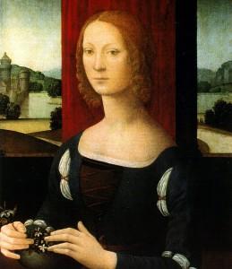 Lorenzo di Credi, La dama dei gelsomini (presumed portrait of Caterina Sforza) Image Credit: Wikimedia Commons