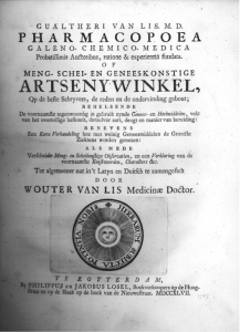 Front page of Van Lis's 1747 Pharmacopea