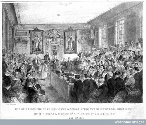 L0007533 St. Thomas's Hospital, Southwark: Prince Albert distributing Credit: Wellcome Library, London.