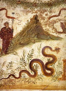 Household Shrine, Bacchus and Vesuvius Fresco. Credit: Carole Raddato, Wikimedia Commons.