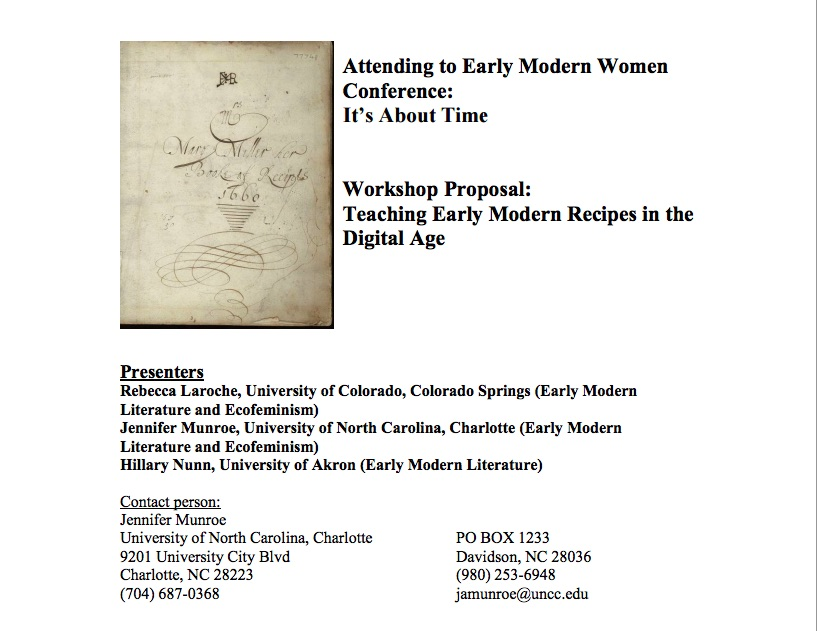 September 2015 the recipes project teaching early modern recipes in the digital age program for attending to early forumfinder Choice Image