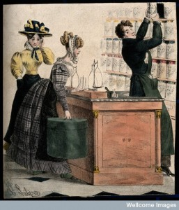 A young male apothecary serving and flirting with two young women.  Credit: Wellcome Library, London.
