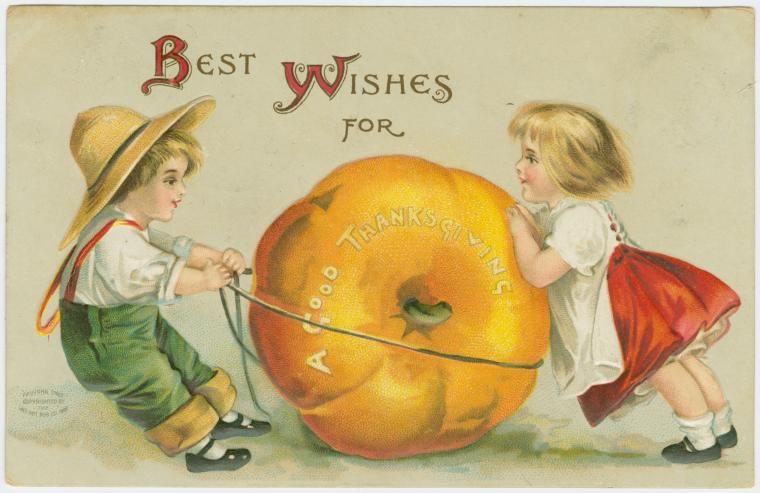 "Art and Picture Collection, The New York Public Library. ""Best wishes for a good Thanksgiving."" New York Public Library Digital Collections. Accessed September 1, 2015. http://digitalcollections.nypl.org/items/510d47e3-6467-a3d9-e040-e00a18064a99"
