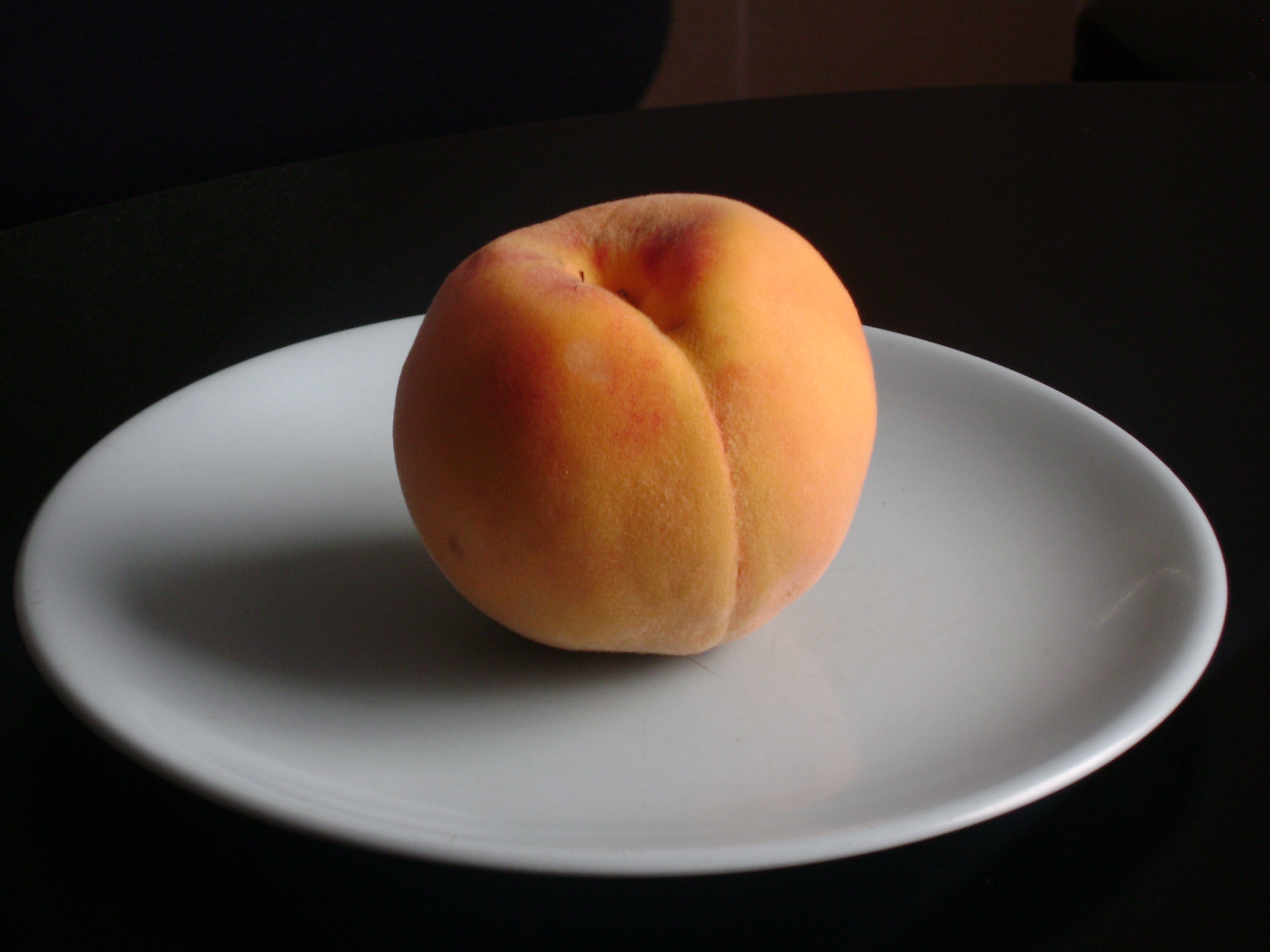 One peach.  Image courtesy of Wikimedia Commons.