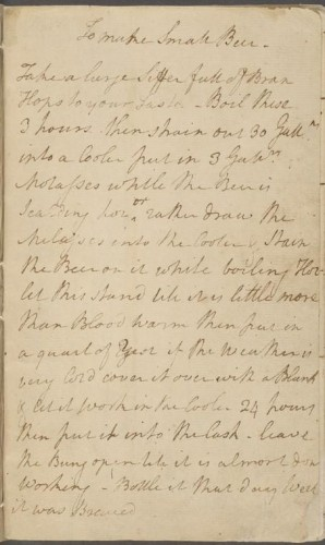 George Washington's Small Beer Recipe