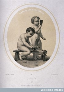 Two naked children wrapping and inspecting champagne bottles. Credit: Wellcome Library, London.