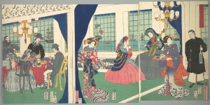 Utagawa (Gountei) Sadahide, Foreigners in the Drawing Room of Foreign Merchant's House in Yokohama (9th month, 1861),  Triptych of polychrome woodblock prints Bequest of William S. Lieberman, 2005 (2007.49.131a–c), Courtesy of The Metropolitan Museum of Art.