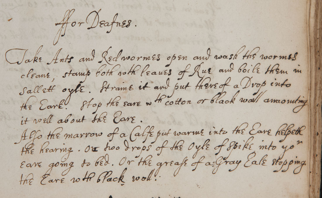 """For deafness"" from Recipe book of Sydney Humphryes (Ref.MS0059)"