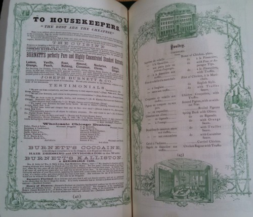 """Menu for Kinsley's (Chicago: 1867). Note the advertisements on the verso, including one for """"Burnett's Cocoaine."""""""