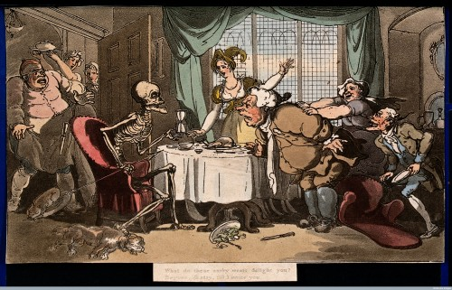 Thomas Rowlandson, The Dance of Death: The Glutton, aquatint, 1816. Image Credit: Wellcome Library, London.