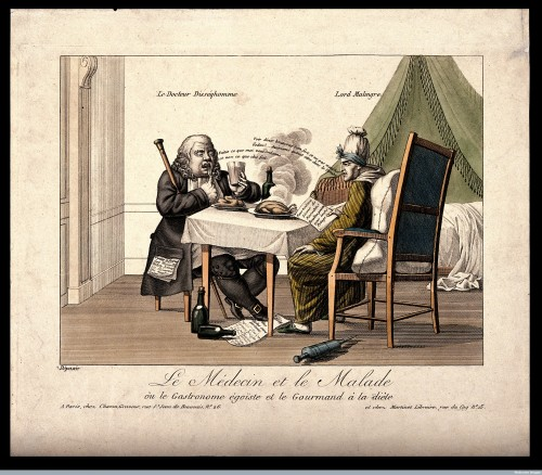 V0011678 A doctor instructs his English patient not to eat as he does Credit: Wellcome Library, London. Wellcome Images images@wellcome.ac.uk http://wellcomeimages.org A doctor instructs his English patient not to eat as he does. Coloured engraving by Louis-François Charon. after: Louis-François CharonPublished:  -  Copyrighted work available under Creative Commons Attribution only licence CC BY 4.0 http://creativecommons.org/licenses/by/4.0/