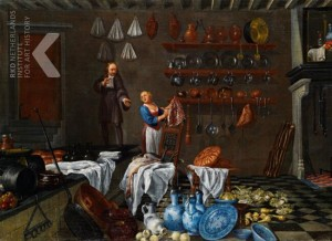 Kitchen interior, oil on canvas, Dutch, anonymous, second half of 17th C.