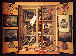 Cabinet of Curiosities, 1690s, by Domenico Remps, Museo dell'Opificio delle Pietro Dure, Florence. Source: WikiCommons. Red coral is depicted at the top of the right door.