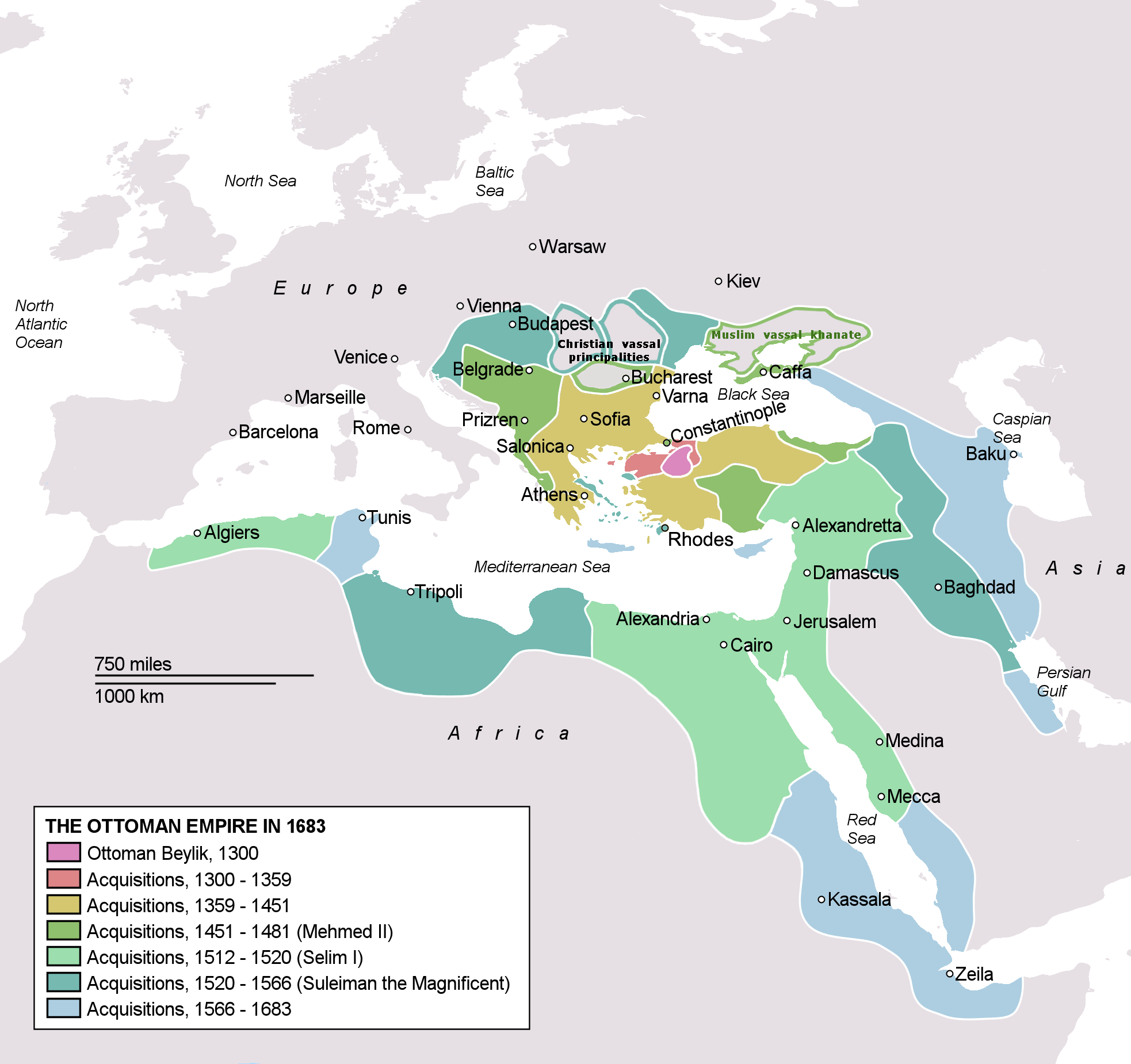 The Ottoman Empire in 1683 From Wiki Commons
