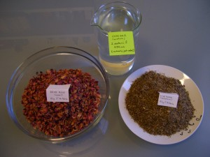 Rose, thyme, and vinegar (here represented by water) quantities required by Scribonius' recipe