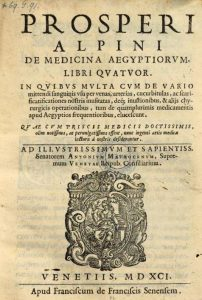 "Alpinus told of this procedure in Cap. XIV of the third book of De medicina Aegyptiorum (1591) under the title ""To remove stones without an incision"""