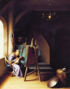 Gerard Dou, Man Writing by an Easel. c. 1631-32. 31.5 x 25 cm, oil on panel. Private collection