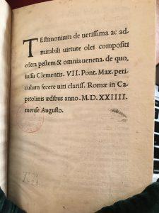 Testimonium de verissima ac admirabili virtute olei compositi contra pestem & omnia venena (Rome, 1524), BNF.