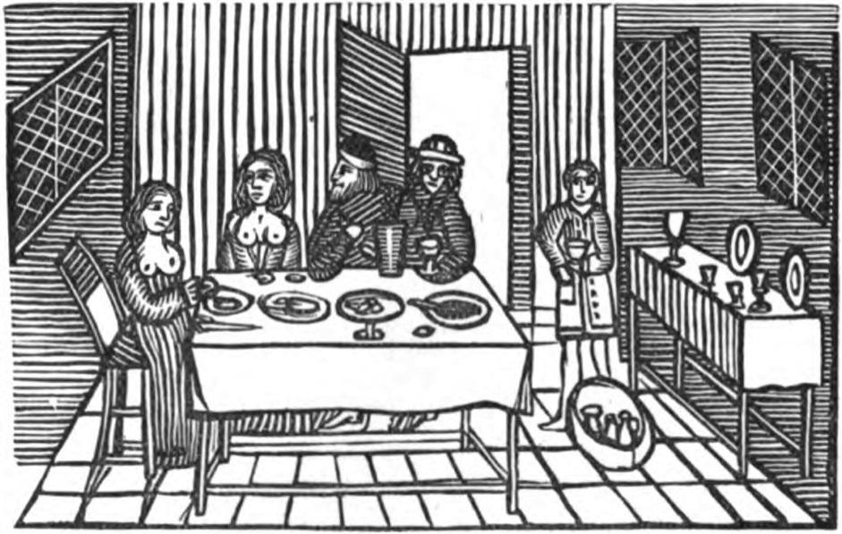 Tavern Scene Woodcut from J. W. Ebsworth ed. The Roxburgh Ballads: Copyright Free.