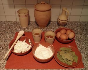 Simple Roman ingredients. Here, the preparation for a Roman cheesecake.