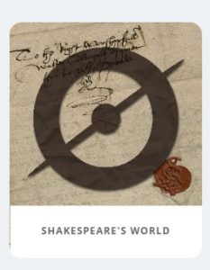 Screen shot taken from Shakespeare's World main site