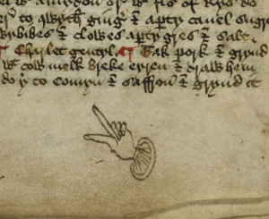 A manicule on Harley 1735, fol. 21r. http://www.bl.uk/manuscripts/Viewer.aspx?ref=harley_ms_1735_f021r. (c)British Library Board Harley MS 1735