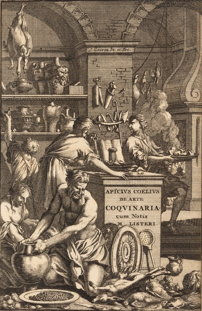 Image: Frontispiece to Martin Lister's edition of Apicius (2nd edn. 1709). The interior seems to be an amalgam of an eighteenth-century and a Roman kitchen. The presence of a codex recipe book, propped up on the work surface, is the clearest eighteenth-century element. By permission of The Huntington Library, San Marino, California.